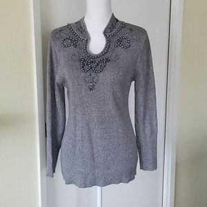 Lauren Michelle Petite Gray Silver Beaded Shirt